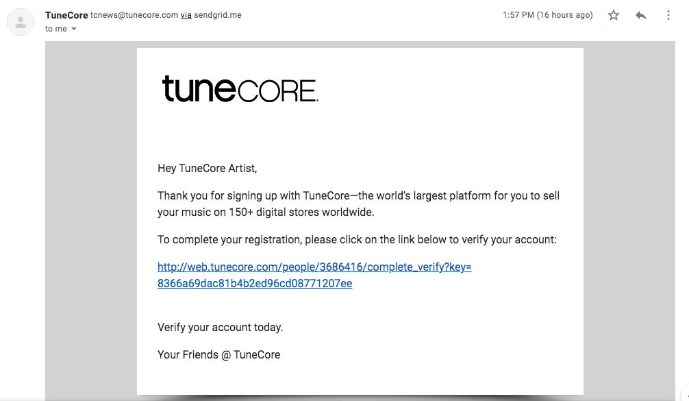 Konfirmasi aktivasi akun Tunecore untuk upload lagu ke Spotify