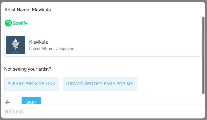 Laman band yang sebelumnya sudah ada di Spotify