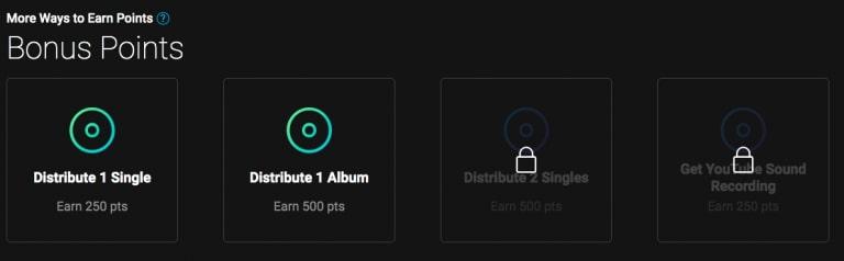 Bonus poin dari Tunecore setelah berhasil upload lagu ke Spotify