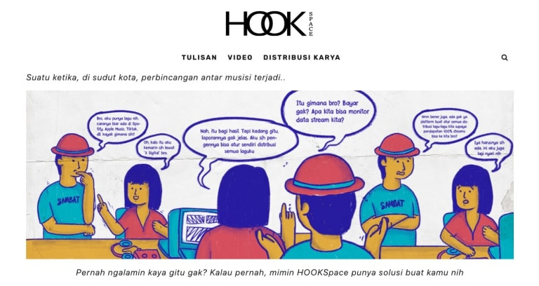 Halaman distribusi karya di HOOKSpace untuk upload lagu ke Spotify
