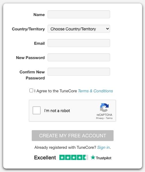 Sign-up di laman Tunecore via HOOKSpace
