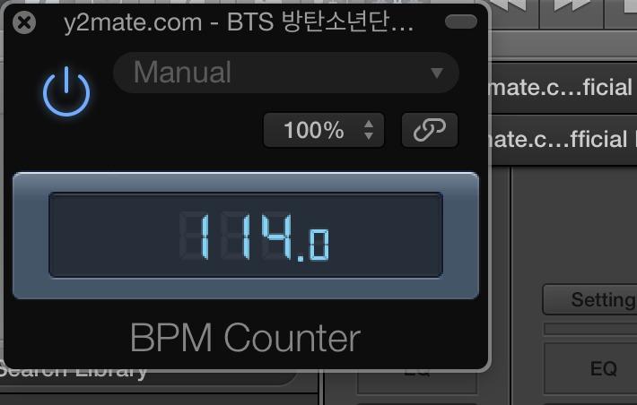Indikator tempo lagu (BPM) di Logic Pro