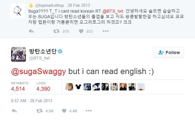 Interaksi BTS kepada fans di Twitter